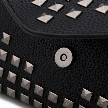 Trendy Rivet and Solid Color Design Women's Clutch Bag -  BLACK