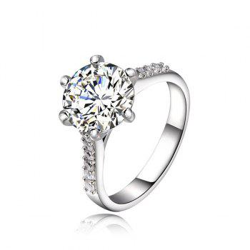Rhinestone Silver Plated Ring