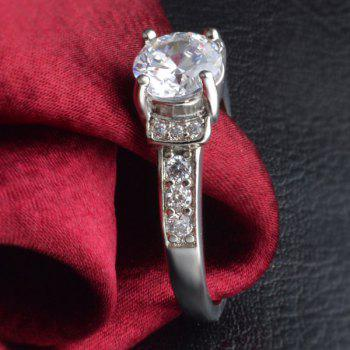 Rhinestone Silver Plated Ring - SILVER ONE-SIZE