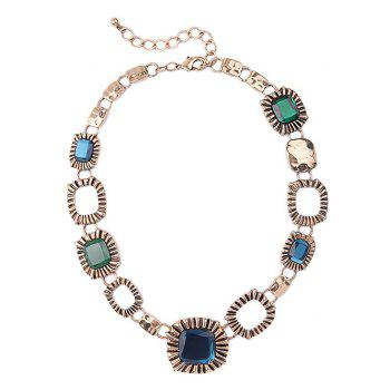 Vintage Faux Gem Square Necklace