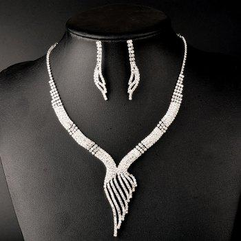 Rhinestone Embellished Wing Wedding Jewelry Set