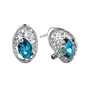 Pair of Chic Cut Out Flower and Oval Faux Gem Earrings For Women