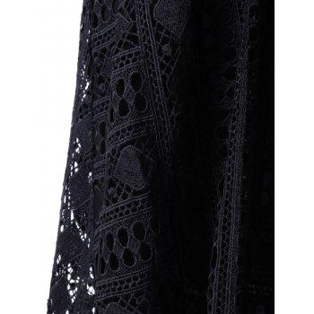 Fashionable Round Neck Sleeveless Lace Irregular Design Dress For Women - BLACK S