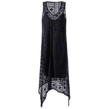 Fashionable Round Neck Sleeveless Lace Irregular Design Dress For Women