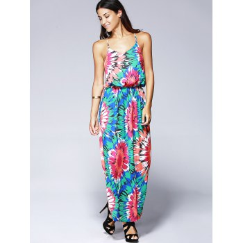 Spaghetti Strap Maxi Floral Print Dress - COLORMIX XL