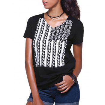 V Neck Flag Print Short Sleeve T Shirt For Women