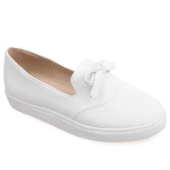 Leisure PU Leather and Bow Design Women's Flat Shoes