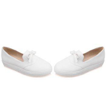Leisure PU Leather and Bow Design Women's Flat Shoes - WHITE 37
