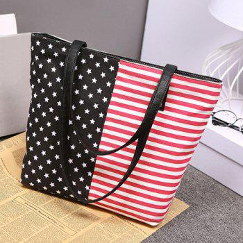 Leisure Stars and Stripes Design Women's Shoulder Bag - BLACK