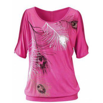 Casuall Women's Short Sleeve Scoop Neck Feather Print T-Shirt