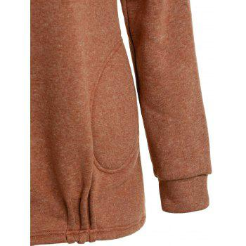 Stylish Long Sleeve Solid Color Loose Women's Pullover Hoodie - BROWN M