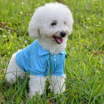 Stylish Solid Color Fastener Design POLO Shirt For Dogs - WATER BLUE XL