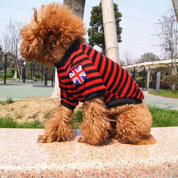 Stylish Striped Design The British Flag Embellished T-Shirt For Dogs - RED WITH BLACK RED/BLACK