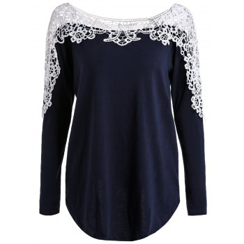Scoop Neck Hollow Out Lace Spliced Long Sleeve Tee