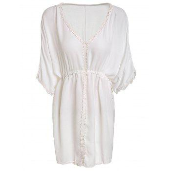 Cute Short Sleeve Plunging Neck White See-Through Fringed Women's Mini Dress