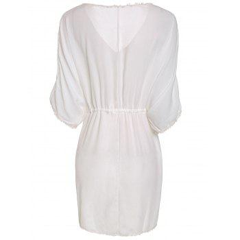 Cute Short Sleeve Plunging Neck White See-Through Fringed Women's Mini Dress - WHITE ONE SIZE(FIT SIZE XS TO M)