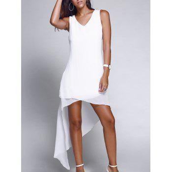 Chic Asymmetric Hem V-Neck Sleeveless Chiffon Dress For Women