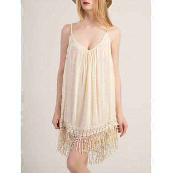 Alluring Spaghetti Strap Fringe Design Solid Color Dress For Women