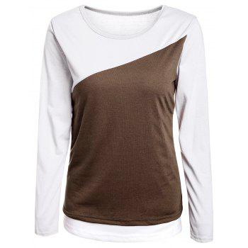 Casual Scoop Neck Color Block Long Sleeve Cotton T-Shirt For Women