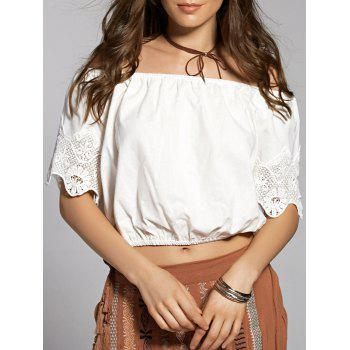 Fashion Cami Lace Spliced Hollow Out T-Shirt For Women
