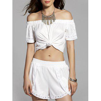 Fashion Solid Color Knotted T-Shirt and Shorts Twinset For Women