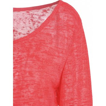 Pullover Long Sleeve Scoop Neck Solid Color Blouse For Women - RED 2XL
