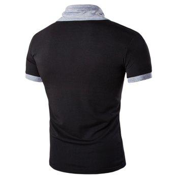 Men's Stand Collar Solid Color Short Sleeve T-Shirt - BLACK M