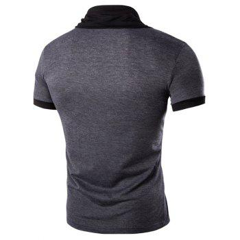 Men's Stand Collar Solid Color Short Sleeve T-Shirt - DEEP GRAY M