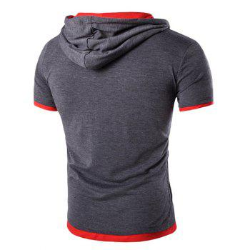 Men's Hooded Solid Color Letter Printed Short Sleeve T-Shirt - GRAY M