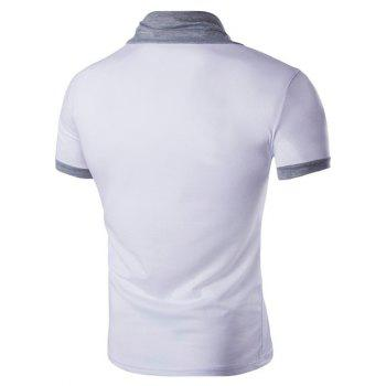 Men's Stand Collar Solid Color Short Sleeve T-Shirt - WHITE M