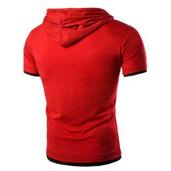 Men's Hooded Solid Color Letter Printed Short Sleeve T-Shirt - RED M