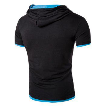 Men's Hooded Solid Color Letter Printed Short Sleeve T-Shirt - BLACK/BLUE M