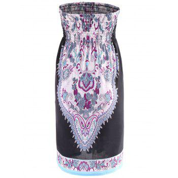 Bohemian Strapless A-Line Printed Dress For Women - BLACK M