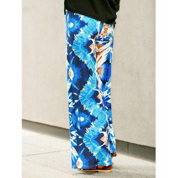 Trendy Colorful Print High Waist Wide-Leg Pants For Women - BLUE L