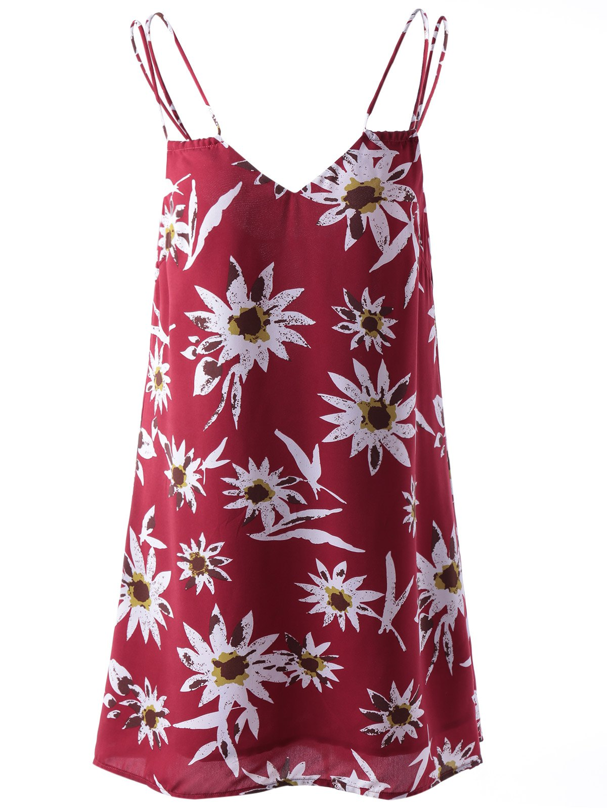 Stylish Printing Spaghetti Straps Dress For Women - COLORMIX S