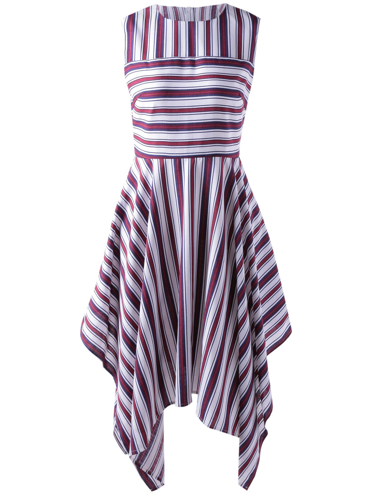 Stylish Stripe Splicing Dress For Women - RED/WHITE L