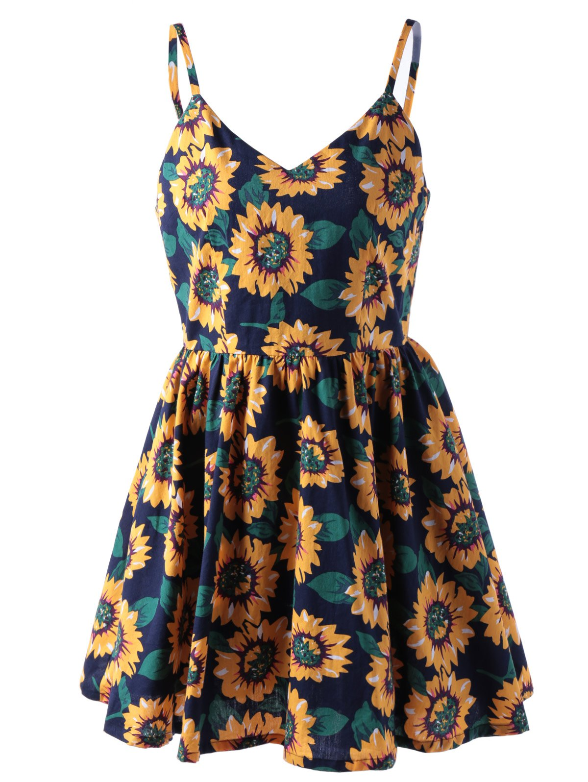 Stylish Spaghetti Straps V-Neck Print Dress For Women - COLORMIX L