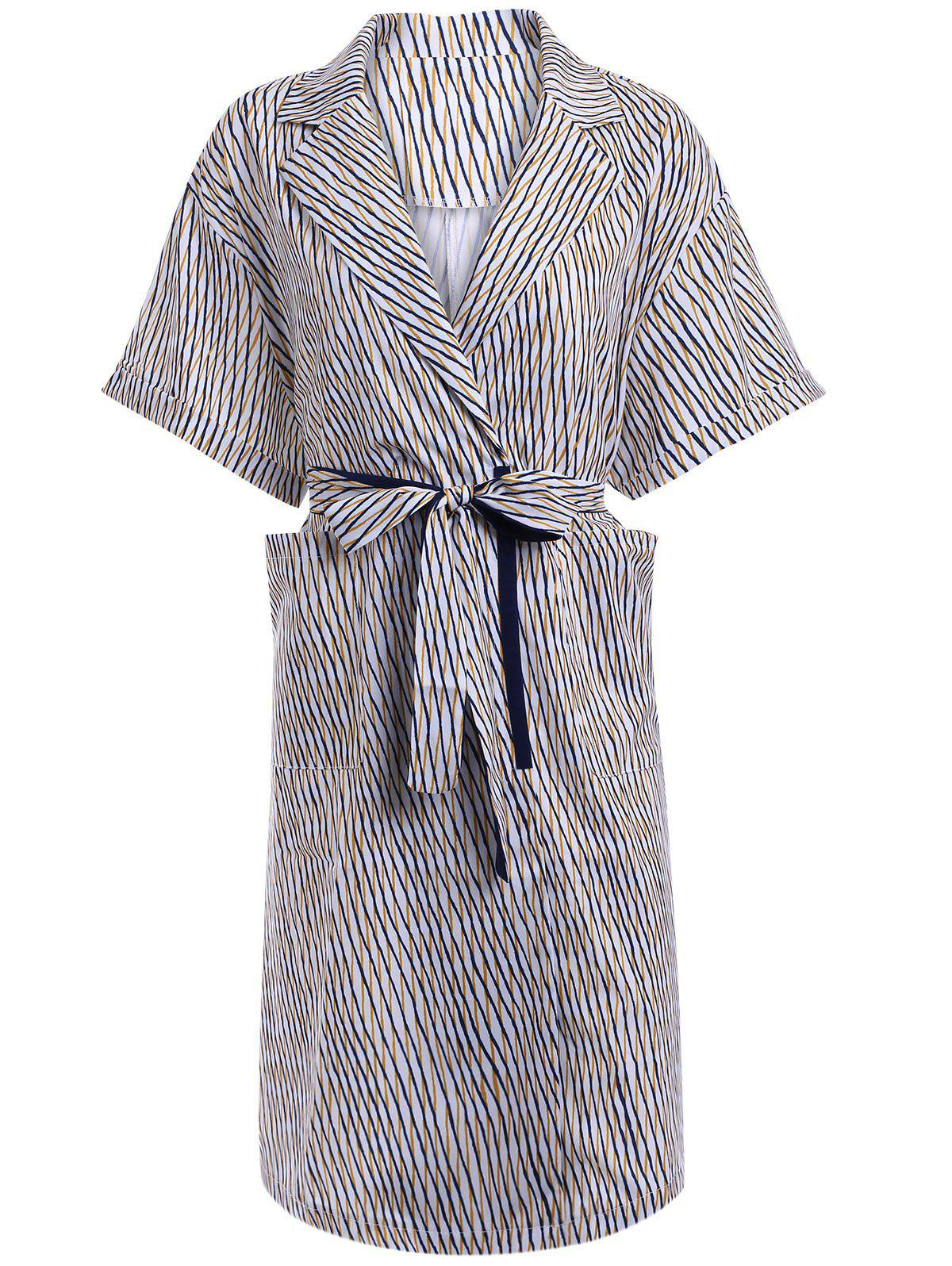 Street Stripe Short Sleeve Belted Shirt Dress For Women зеркало chrome 600 белое