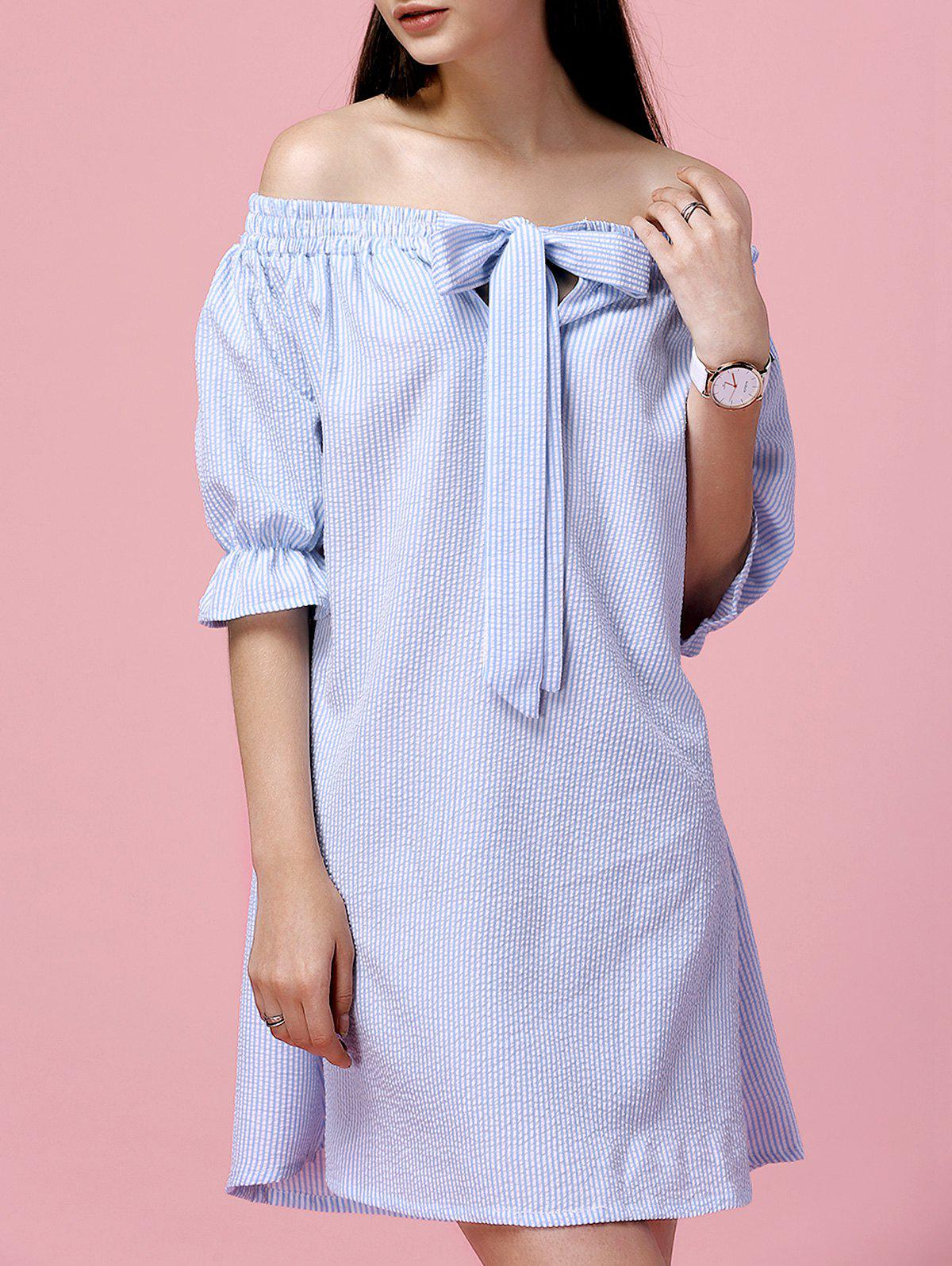 Off The Shoulder Bowknot Vertical Striped Alluring Women's Dress - BLUE XL