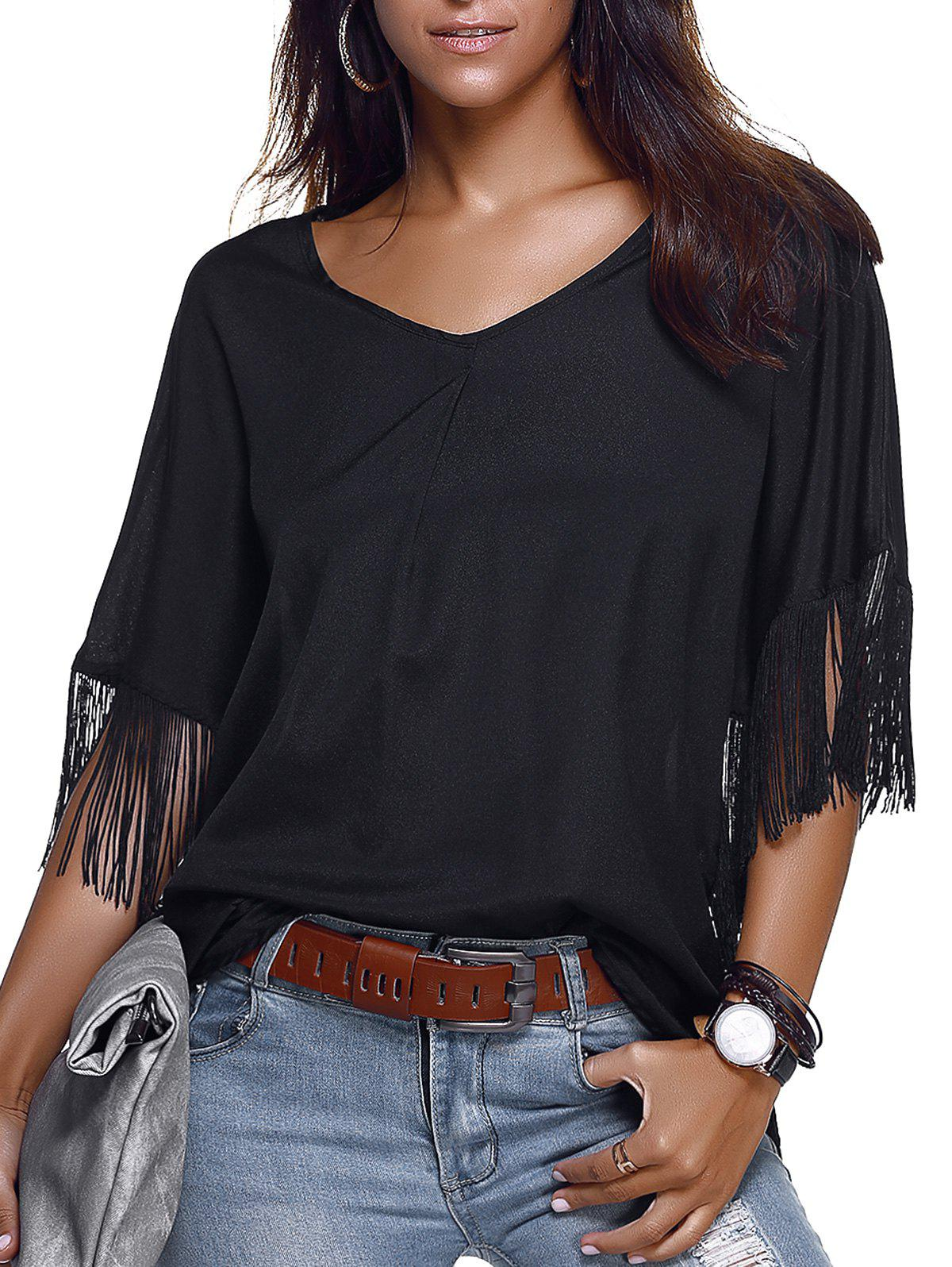 Trendy V-Neck Short Sleeve Fringe Design Blouse For Women - BLACK XL