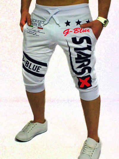 Men's Letter and Star Printed Solid Color Lace-Up Shorts - WHITE 2XL