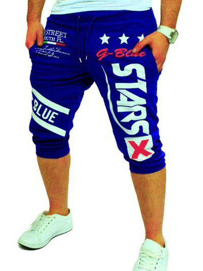 Lace-Up Graphic and Star Printed Jogger Shorts - BLUE M