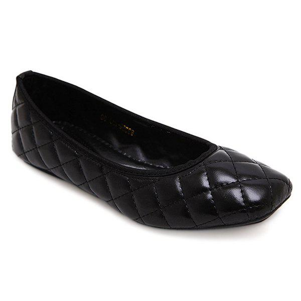 Leisure Square Toe and Slip On Design Women's Flat Shoes - BLACK 37