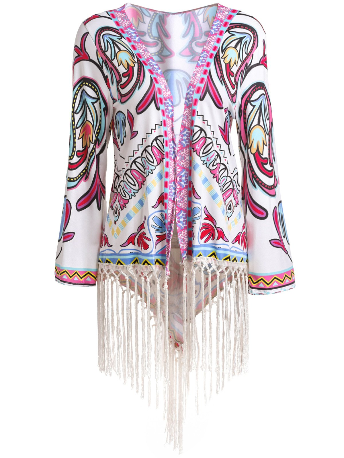 Attractive Tassel Hem Colorful Printed Kimono For Women - COLORMIX XL