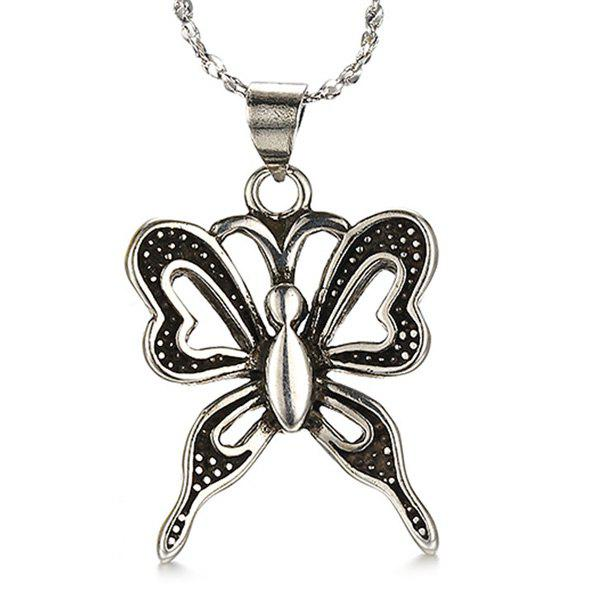 Butterfly Shape Hollow Out Necklace - SILVER