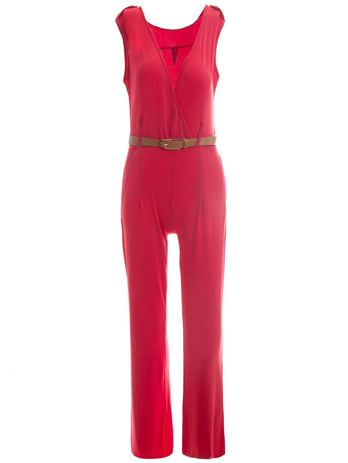 Trendy Sleeveless Plunging Neck Epaulet Solid Color Women's Jumpsuit - RED S
