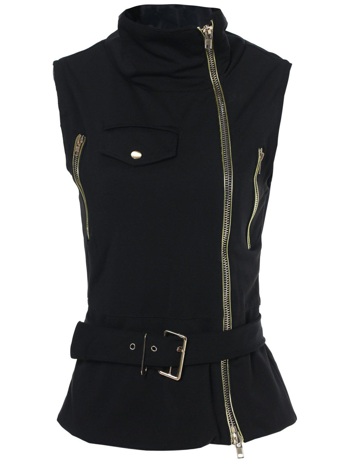 Stylish Sleeveless Stand-Up Collar Solid Color Zipper Embellished Women's Waistcoat - BLACK XL