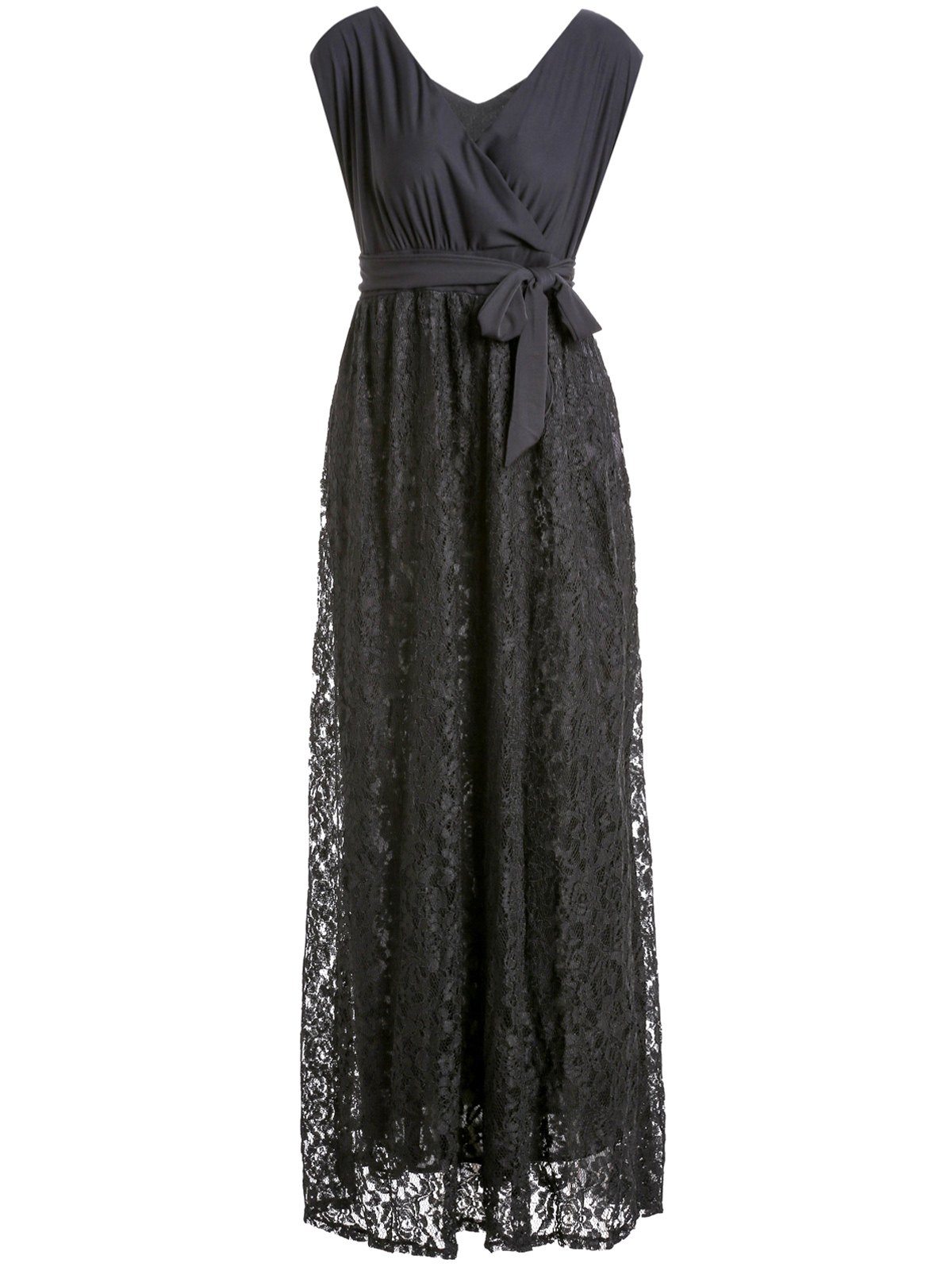 Black V-Neck Lace Spliced Sleeveless Dress For Women - BLACK 2XL