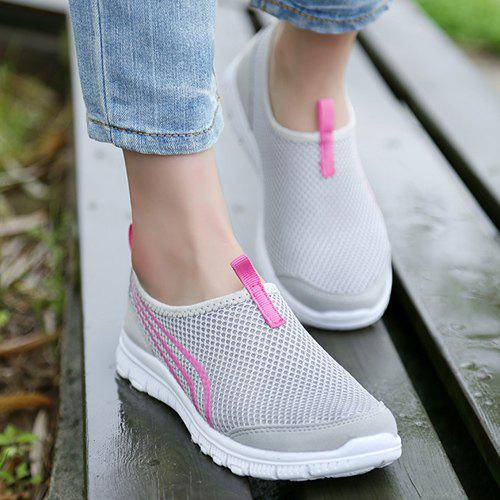 Stylish Color Splicing and Breathable Design Women's Athletic Shoes - LIGHT GRAY 37
