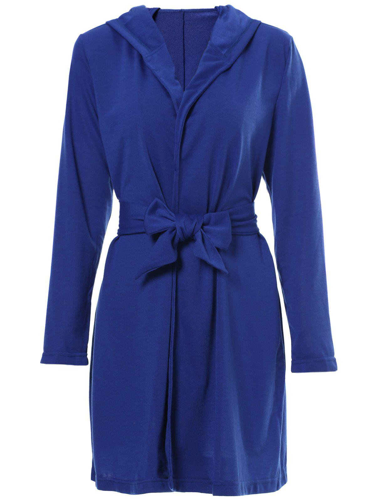 Active Hooded Solid Color Long Sleeve Slit Mini Dress For Women - BLUE S